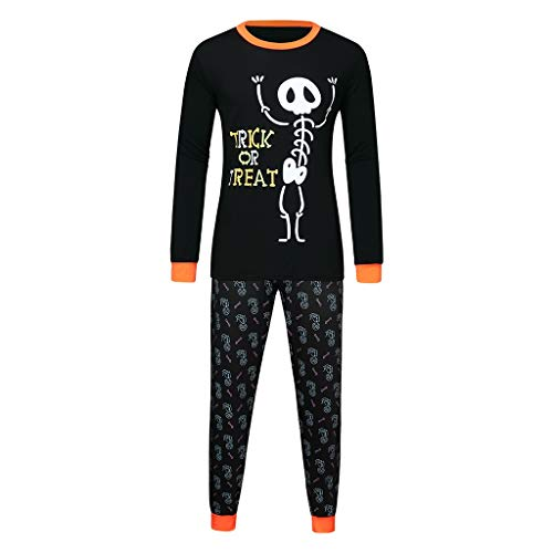 LILIHOT Halloween Kinder Kinder Brief Drucken Top + Hosen Familie Kleidung Pyjamas Set Pyjama Set Frauen Kind Dad Erwachsene Nachtwäsche Langarm Streifen Schlafanzug Sleepwear