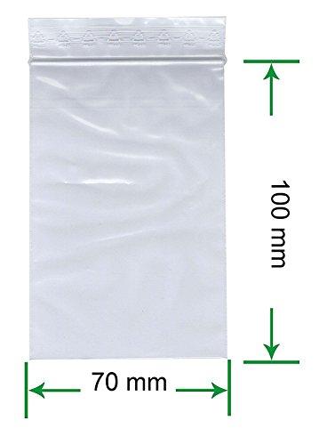 HeiZip 1000 x Druckverschlussbeutel 70 x 100 mm, 90 mµ/MY (extra stark), Transparent, Unbedruckt, Wiederverschliessbar, Lebensmittelecht