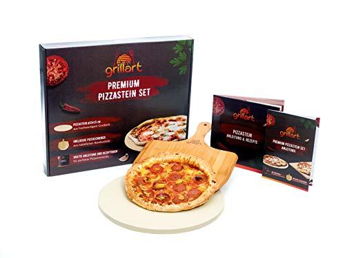 grillart® Premium Pizzastein für Gasgrill und Backofen im Set – Hochwertiger Pizzastein Rund inklusive Pizzaschieber und Rezeptbuch – auch optimal als Brotbackstein geeignet