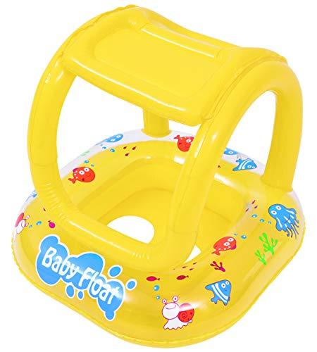 Pullach Hof Baby Schwimmsitz Schwimmring Babysitz Schwimmhilfe für Kinder mit Dach |Maße 63 cm x 63 cm | 1-2 Jahre