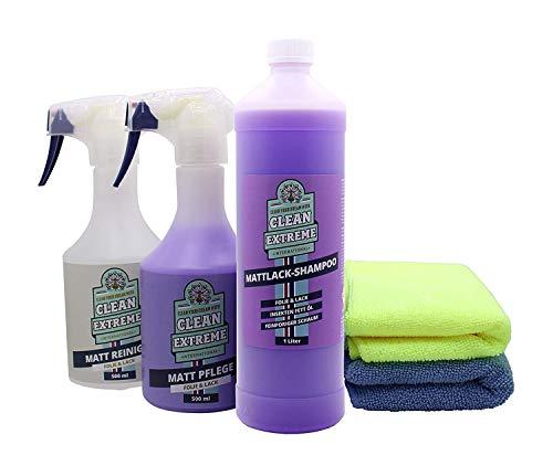 CLEANEXTREME Set Mattlack Reinigung & Pflege Medium - Reinigen, Pflegen, Versiegeln von Matt-Lack & Mattfolie - Pflege Spray, Reiniger & Auto Shampoo