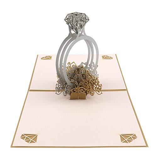 YINETTECH Cherry Blossom/Bruiloft/Verjaardag Taart/Diamanten Ring Pop Up 3D Popup Wenskaart met Envelop Verjaardag Valentijnsdag