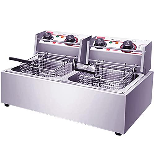 TTXS Kaltzonen Fritteuse 20L mit Timing,Professional Elektrische Edelstahl Friteuse mit Deckel,Sicherheitsthermostat : 50-200 °c für Gewerblichen Einsatz Geeignet