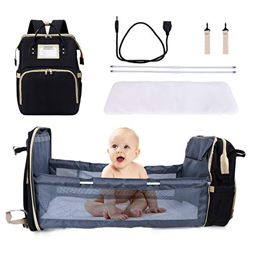 7-in-1 Baby Diaper Bag, Multifunctional Baby Portable Foldable Cot Bed, Mummy Bag Baby Nappy Changing Bags, Travel Baby Backpack,USB Charging Port, Multifunctional Waterproof Bag(Black)