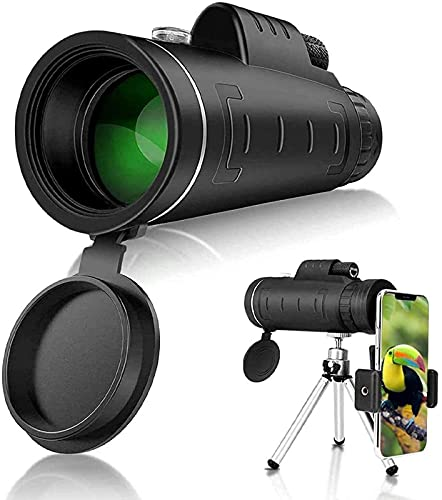 Clear with Adjustable Tripod for Mobile Phone Bird Watching Hiking Camping Travelling,Starry Sky Monocular Telescope, Monocular 40x60 BAK4 High Power Waterproof Low Light