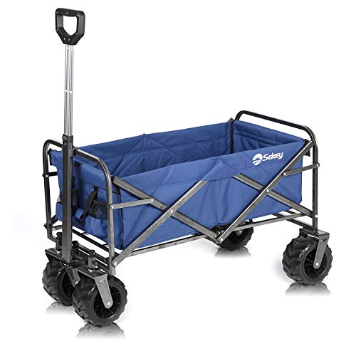 Sekey Folding Wagon Cart Collapsible Outdoor Utility Wagon Heavy Duty Beach Wagon with All-Terrain Wheels, 176 Pound Capacity, Blue thumbnail image