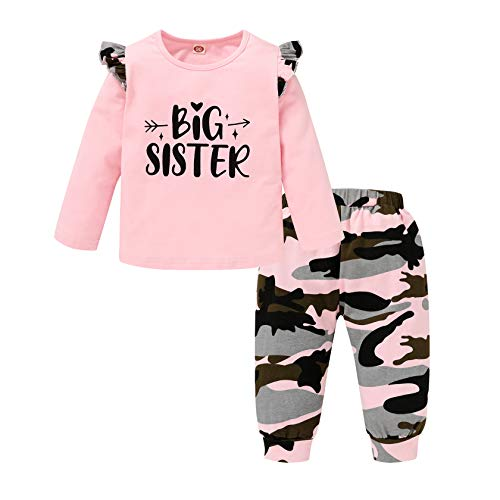 Toddler Baby Girls Fall Clothes Set Long Sleeve Romper Top + Floral Pants Sister Matching Outfits (Camouflage-Big Sister, 4-5 T)