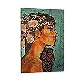 Withtap Acuarela pintura a chica cartel decorativo lienzo pared arte sala de estar carteles dormitorio pintura 30 x 45 cm