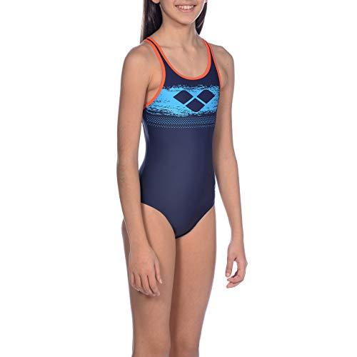 ARENA Mädchen Sport Badeanzug Scratchy, Navy-Nectarine, 152