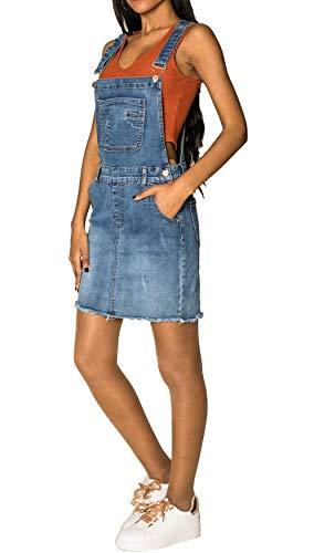 Damen Denim Jeans Latz Rock Basic Minirock Latzkleid Fransen Jeansskirt Sommerkleid Jumpsuit, Farben:Blau, Größe:36