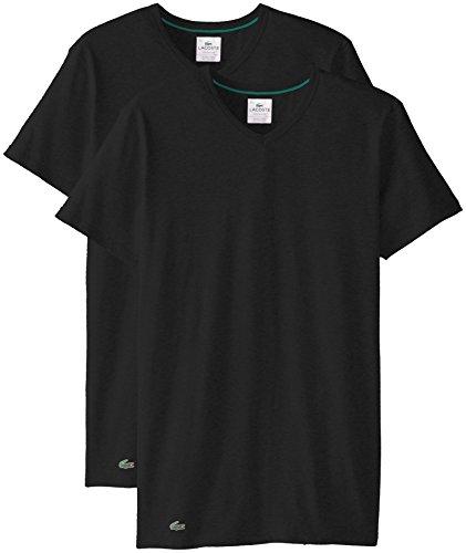 Lacoste Herren 2PK Cotton Stretch Slim FIT Vneck Tee T-Shirt, schwarz, Small (2er Pack)