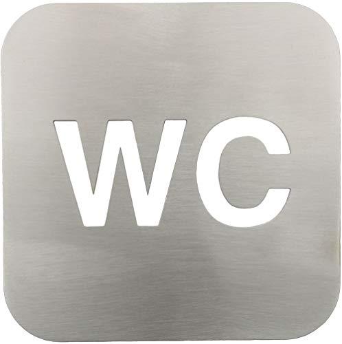 YdoG wc-bord, toiletbord, geborsteld roestvrij staal, 12 cm x 12 cm, dikte 2 mm, 3M plakfolie op de achterkant, zelfklevend