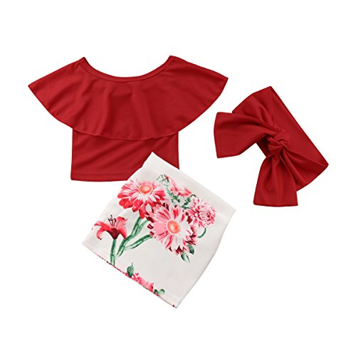 WangsCanis 3tlg Outfit Baby Mädchen Schulterfrei Lotusblatt Kragen Kurze Tops Blumen Rock Taschenrock mit Stirnband (100/1-2Jahre alt, Rot)