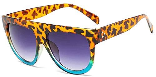 Occhiali da sole Femmina - Donna - Grandi - Oversize - Femminile - Ragazza - Diva - Retro - Vintage - Montatura blu e leopardata - Moda - Lente grigia sfumata - Idea regalo originale