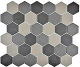 Carrelage mosaïque en céramique hexagonal gris foncé noir non lasuré MOS11B-2313-R10