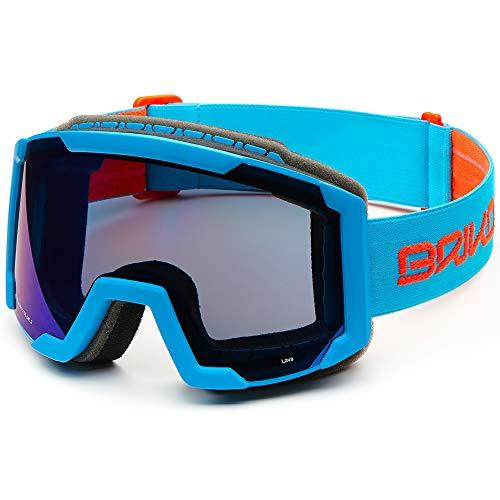 Briko Lava Máscara esquí, Unisex Adulto, Matt Sky Blue/Orange FL, Talla Única