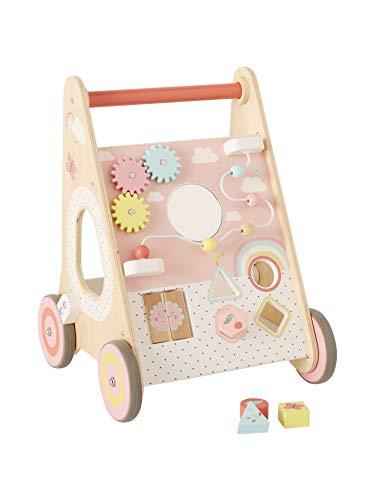 Vertbaudet Activity-Lauflernwagen mit Bremsen, Holz Mehrfarbig/rosa ONE Size