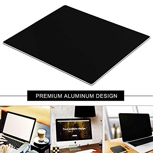 Metal Aluminum Mouse Pad, Office and Gaming Thin Hard Mouse Mat Double Sided Waterproof Fast and Accurate Control Mousepad for Laptop, Computer and PC,9.45 X 7.87 Inch,Black Photo #2