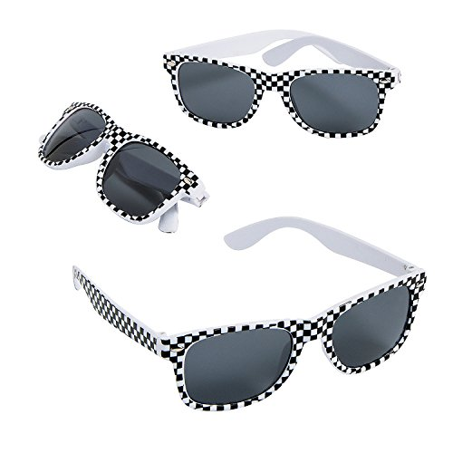 Fun Express Race Car Checkered Flag Print Sunglasses,Black,white - 12 Piece Pack