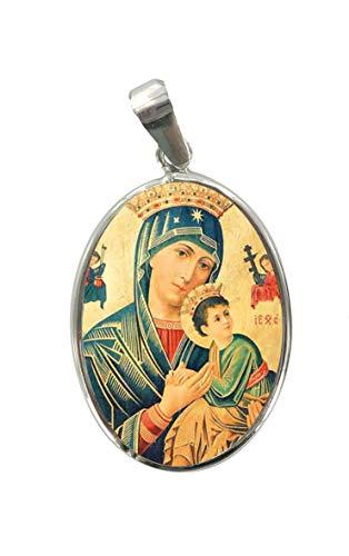 Ferrari & Arrighetti Medalla Virgen del perpetuo Socorro de Plata 925 y Porcelana - 3 cm