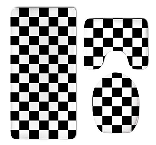 Race Waving Checkered Flag Thicken Skidproof Toilet Seat U Shaped Cover Bath Mat Lid Cover