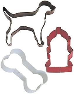 R&M International 0394 Dog 3-Piece Cookie Cutter Set in Organza Gift Bag, Bone, Fire Hydrant, Labrador