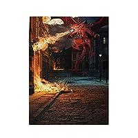 街の中の噴火する竜 500ピース ジグソーパズル ピクチュアパズル 木製の風景パズル、人物 動物 風景 漫画絵のパズル 大人の子供のおもちゃ家の装飾風景パズル Puzzle A4サイズ 52.2x38.5cm