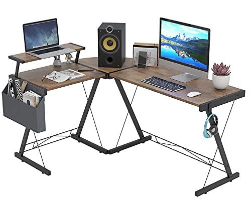 Dripex Schreibtisch L Form Groß 153cm Eckschreibtisch Computertisch mit Monitoraufsatz Büroschreibtische Gaming Tisch Vintagebraun, 153x113x74 cm