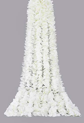 Famibay White Artificial Flowers Silk Wisteria Garland 6.56FT Fake Hanging Flowers Wisteria Vine Backdrop Flower Garland Wedding Wall Decor (4PC, White)
