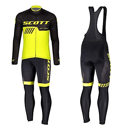ZQD Ciclismo Maillot Hombres Jersey + Pantalones Largos Culote Mangas Largas de Ciclismo Conjunto de Ropa, Pantalones Acolchados de Gel 9D MTB Camisa de Montar, Camisa de Carreras Camisa de Ciclismo