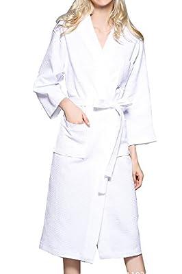 Women's Plus Size Long-Sleeve Waffle Weave Spa Bathrobe Kimono Robe Comfortable Bridesmaid Bathrobe Breathable Sleepwear