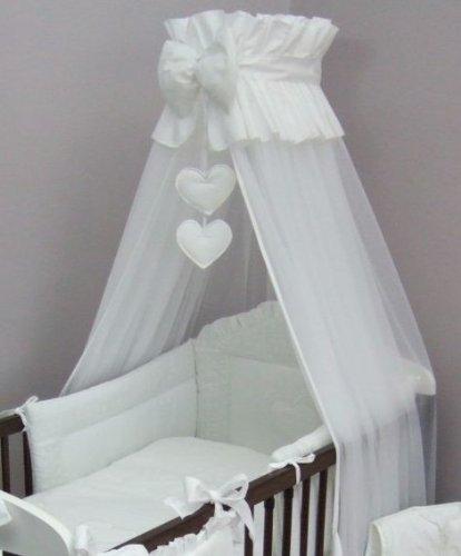 8 pièces bébé brodé Auvent Parure de lit (pour s'adapter à lit 140 x 70 cm) – Motif cœurs Blanc