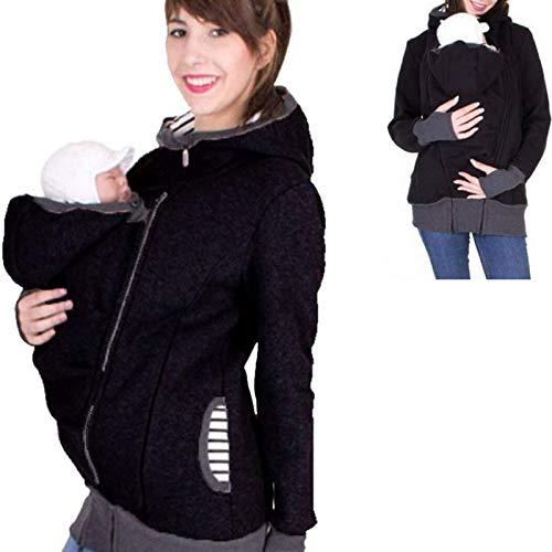 HNKJK Premamá Sudaderas 2 En 1 Llevar Baby con Bolsillos Kangaroo Chaquetas para Mujer Chaqueta para Portabebé,L