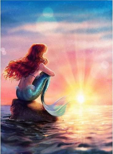 shuodade Pintura por números Sirena Mermaid Malet Malet Digital Malet para Niños Adultos Principiante Color Acrílico Lienzo Decoración del hogar 40 x 50 cm
