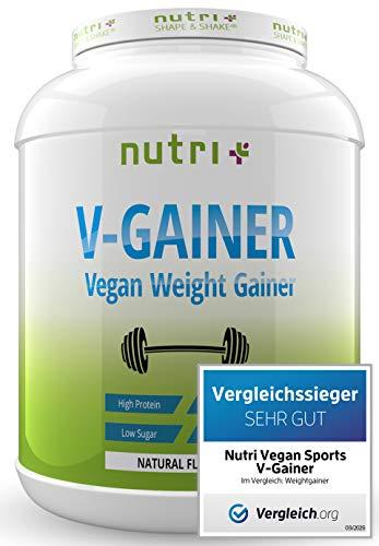 Mass & Weight Gainer Neutral - TESTSIEGER 2020 - Natural ohne Süßstoff & Zucker - V-GAINER 2kg - ohne Maltodextrin & Zusatzstoffe - 2000g vegan - hergestellt in Deutschland