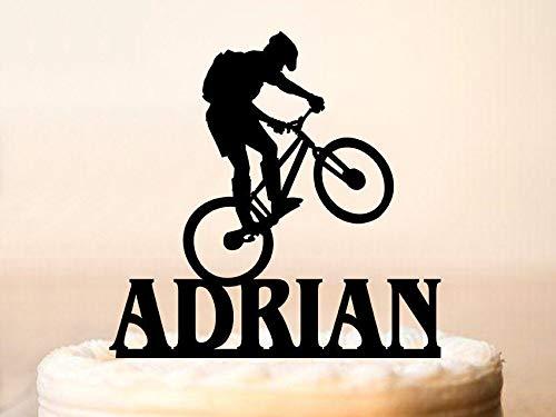 Kuchenaufsatz mit Mountainbike-Motiv, Fahrrad-Kuchenaufsatz, personalisierbar