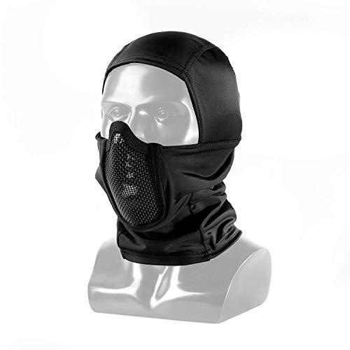 OneTigris バラクラバとメッシュフェイスガード一体型 曇らないフェイスガード サバゲー装備 コスプレ用 UVカット 目出し帽 オリジナル (ブラック)