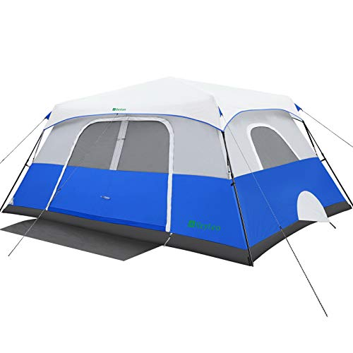REYLEO Camping Tent, 10 Person Instant Cabin Tent, Easy Setup in 60 Seconds, Weatherproof Family Tent for Camping, Outdoors & Travel, with Ventilated Windows