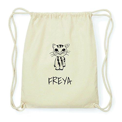 JOllipets Freya Hipster Turnbeutel Tasche Rucksack aus Baumwolle – Design: Katze - Farbe: Natur