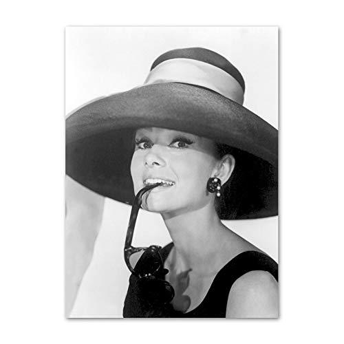 WDQTDW Leinwanddruck Wall Kunstdruck Leinwand Gemälde Audrey Hepburn Vintage Schwarz Weiß Foto Poster Und Drucke Wall Bilder Home Decor