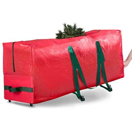 Rolling Large Christmas Tree Storage Bag - Fits Artificial Disassembled Trees, Durable Handles & Wheels for Easy Carrying and Transport - Tear/Waterproof Polyethylene Plastic Duffle Bag (7.5 Ft., Red)