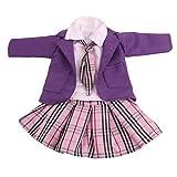 MagiDeal 4-teilige Puppenkleidung Schuluniform weißes Hemd, Krawatte, Plaid Faltenrock, Mantel Outfits für 18 Zoll Mädchen Puppe Zubehör