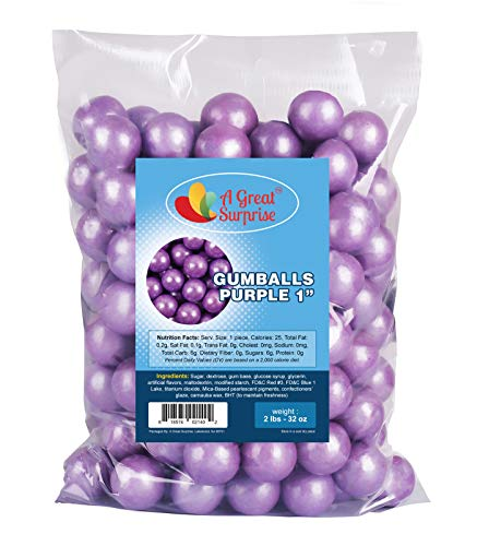 Gumballs in Bulk – Purple Gumballs for Candy Buffet – Gumballs 1 Inch – Bulk Candy 2 LB