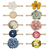 Baby Girls Dasiy Flower Headbands Floral Hair Band Soft Nylon Elastic 10PCS for Newborn Infant Toddlers by JIAHANG