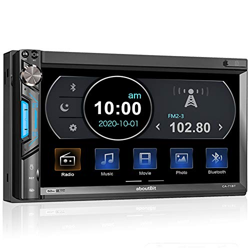 2 DIN Autoradio mit Mirrorlink für IOS/Android, Bluetooth MP5 Multimedia Player, 7 Zoll Touchscreen Bildschirm, AM/FM, Front- / Rückfahrkamera, AUX, SD, USB/Subwoofer, Lenkradsteuerung, 7 Farben