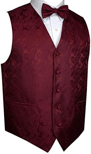 Men s Formal Prom Wedding Tuxedo Vest Bow Tie Hankie Set in Paisley Burgundy XL product image