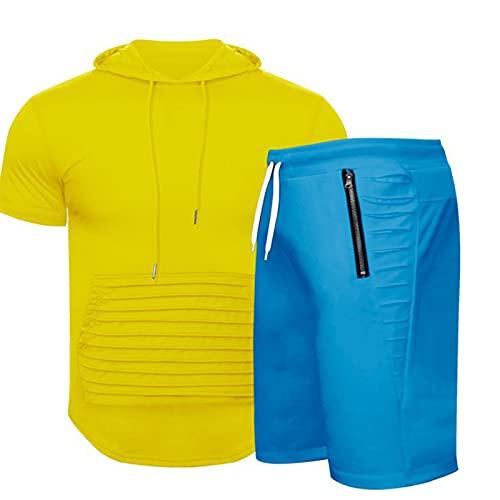 Tuta estiva da uomo, tinta unita, abbigliamento sportivo, tuta da jogging, 2 pezzi, maglietta per il tempo libero, maglietta a maniche corte + pantaloni corti con tasche, Blu, XXXXL