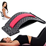 Back Pain Relief Stretcher for Muscle Tightness - Multi Level Lower Back Stretcher for Pain Relief - for Back Health, Posture, Stretching & Decompression, Upper Back Stretcher (Red)