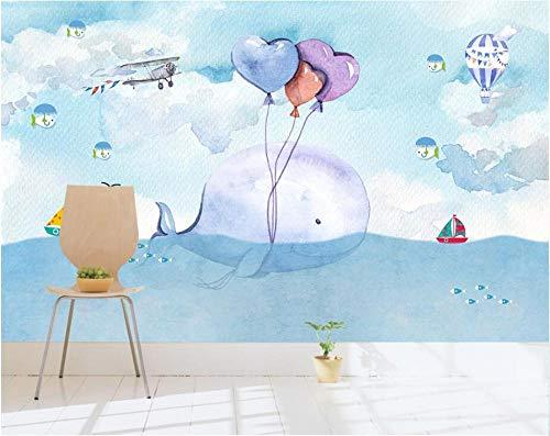MINCOCO behang op maat muurbehang met de hand beschilderd aquarel ballon kinderen slaapkamer achtergrond behang 400 x 280 cm.