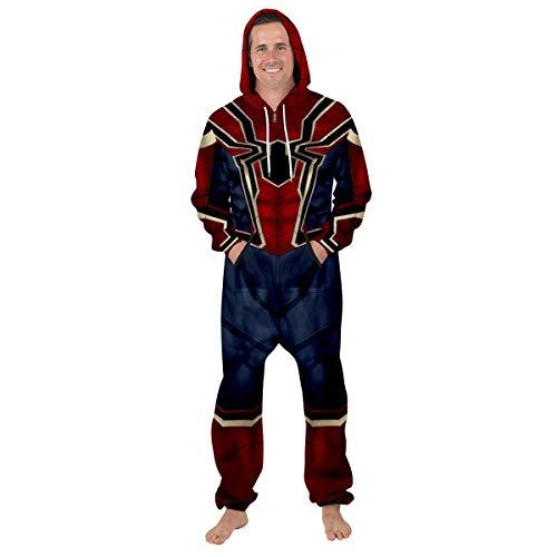 Leezeshaw Kapuzen-Onesie mit langem Arm, Overall, unisex, 3D, Superhelden-Einteiler, Spider Man-Pyjama, Nachtwäsche, Kostüm Gr. L, Eisen-Spinne